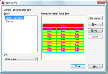 AutoCAD's Table Style dialog with our updated style