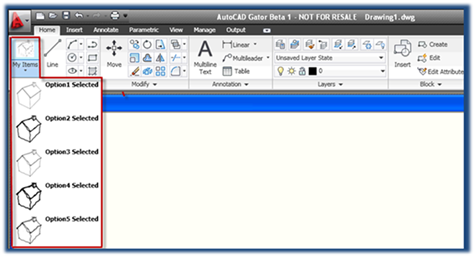 A custom XAML control placed in the Ribbon bar using the CUI editor