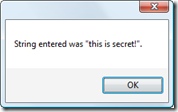 MessageBox showing the string entered via our new dynamic password property