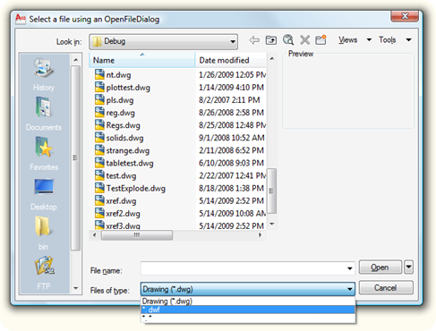 Selecting a file using an OpenFileDialog