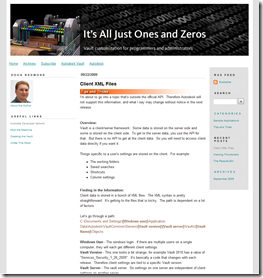 New Autodesk Vault Developer Blog - It's All Just Ones And Zeros