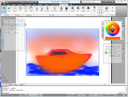Alias Sketch of a colourful boat