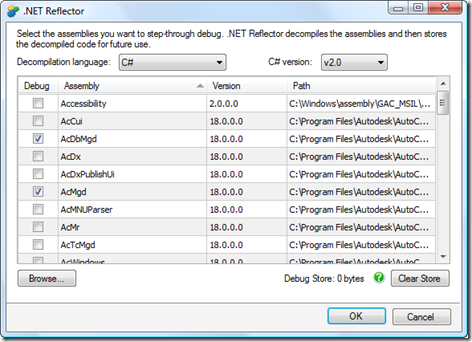 Choosing AutoCAD's assemblies to decompile