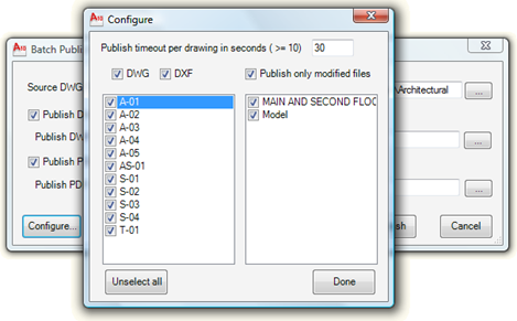 Batch Publish configuration dialog