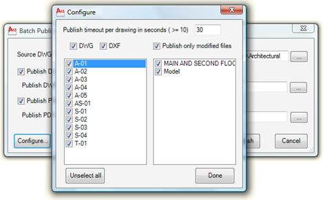 Batch Publish configuration dialog