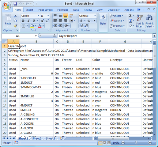 Getting your AutoCAD layer report into Excel - Through the