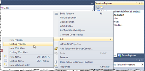 Add an existing project to our VS 2010 solution