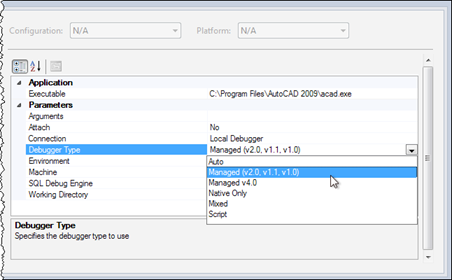 Change the debugger type in our executable project's properties