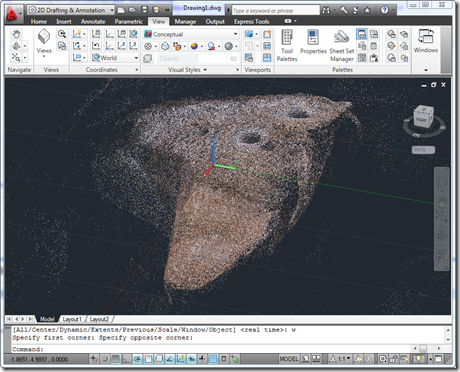 The epic Another Tres Yonis point cloud inside AutoCAD 2011
