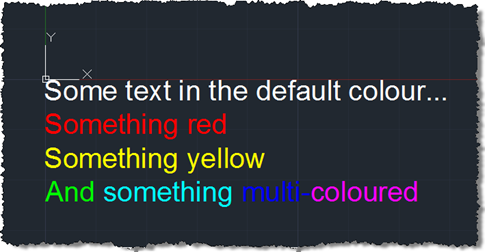 Multi-coloured multi-line text