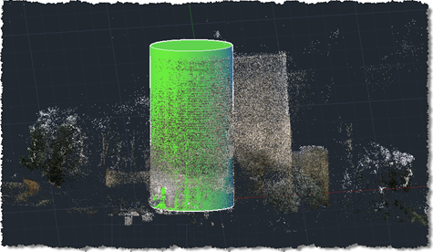 Castle point cloud with cylindrical tower extracted in AutoCAD 2011