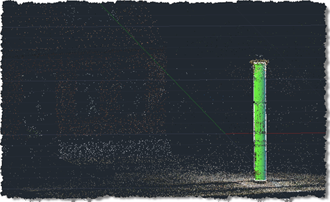 Flood column point cloud with cylindrical column extracted in AutoCAD 2011
