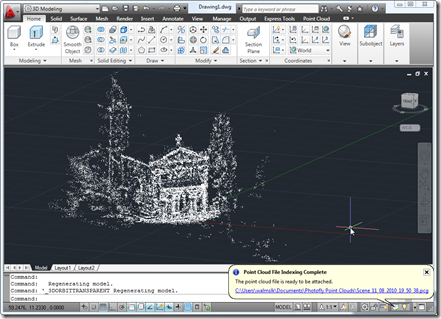 Our chapel's point cloud inside AutoCAD 2011