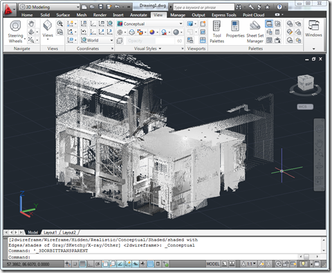 Our converted PTS file inside AutoCAD 2011