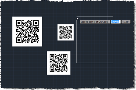 Selecting the location of various QR Codes in AutoCAD