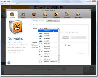 Eye-Fi Center - adding networks