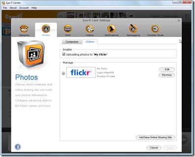 Eye-Fi Center - photo settings - online