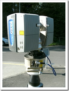The scanner on its tripod