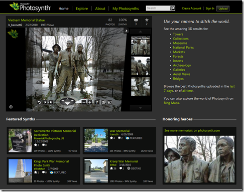 Photosynth main page