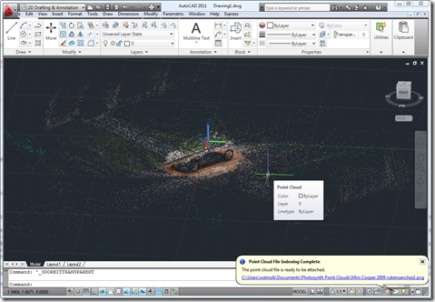 Point cloud of a Mini Cooper imported into AutoCAD