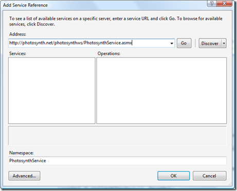 Add a reference to the Photosynth web service
