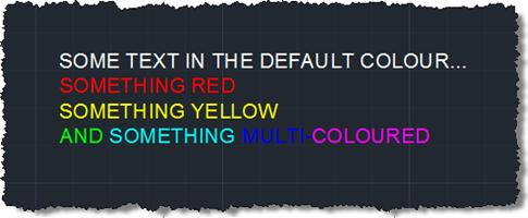 Our multi-coloured mtext in uppercase