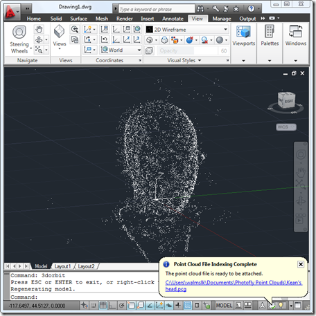 Point cloud from Photofly inside AutoCAD 2011