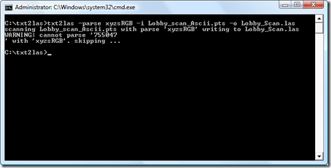 Running txt2las on a sample PTS file