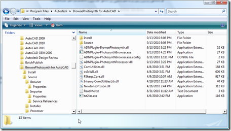 Our installed application files and source