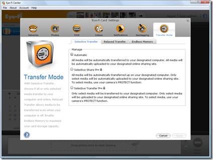 Eye-Fi Center - transfer mode