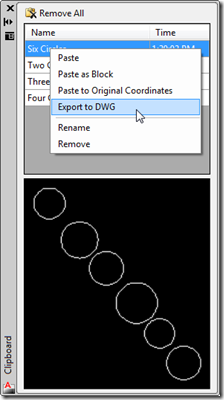 Exporting to a DWG from the Clipboard Manager