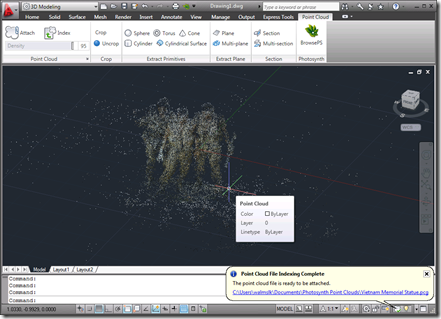 The point cloud imported into AutoCAD