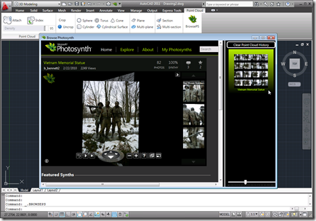The BrowsePhotosynth dialog in AutoCAD 2011