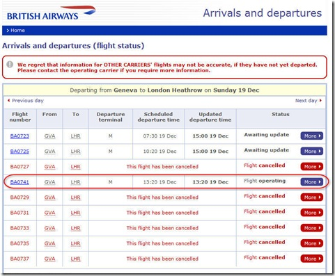 Flight status before leaving for Heathrow