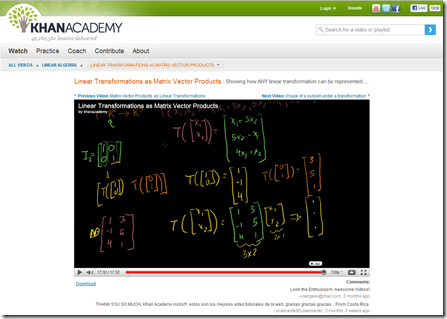 Khan Academy - Linear Transformations as Matrix Vector Products