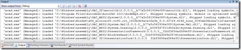 Visual Studio's output window