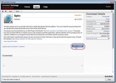 Downloading Spiro from Autodesk Exchange
