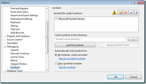 Visual Studio debugging options
