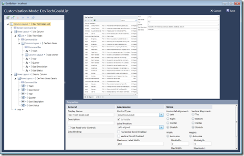 In-debug screen customization interface