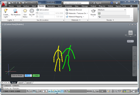 Simple skeleton viewing inside AutoCAD