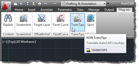 Our custom item on the plug-ins tab inside AutoCAD 2012