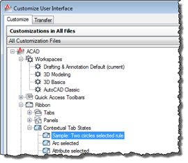 Our new Contextual Tab State in the CUI dialog