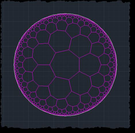 A {7 3} hyperbolic tessellation in AutoCAD