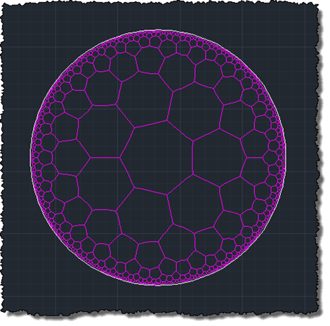 A {7 3} hyperbolic tessellation in AutoCAD with curves