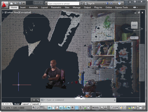 Kinect point cloud in AutoCAD 2013