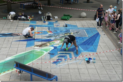 View of the 3D street painting from the Sky Rider