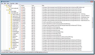 MRU information in the Registry