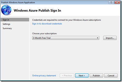 Windows Azure Publish Sign In dialog