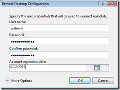 Remote desktop options