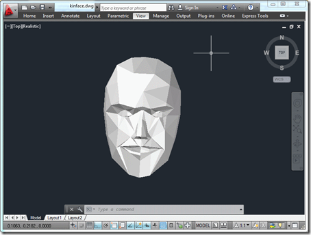 The captured output, a 3D face of 3D faces!